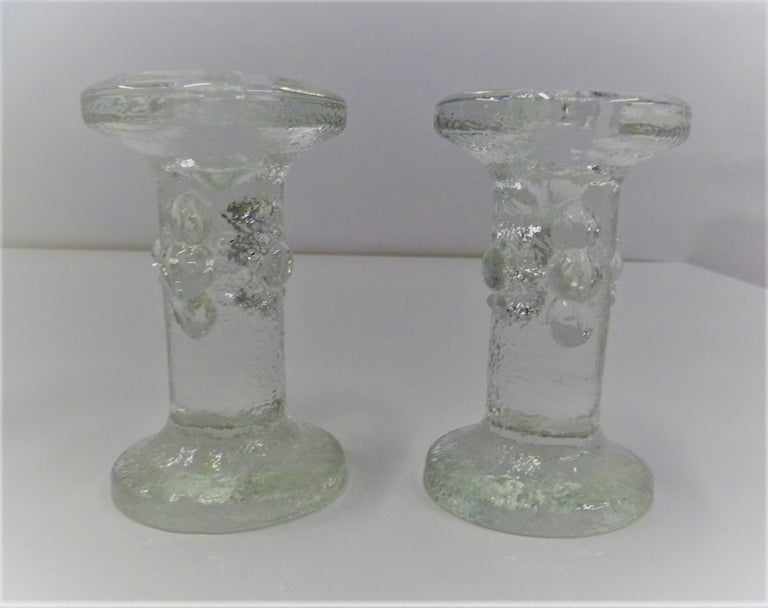 Staffan Gellerstedt for Pukeberg Swedish Modern Group 4 Glass Candleholders In Good Condition For Sale In Miami, FL
