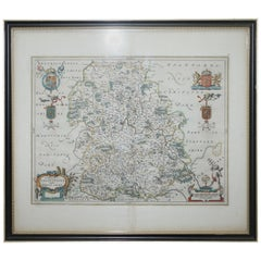 Staffordshire 1645 Hand Colored Antique Print Staffordiensis Comitatvs Map