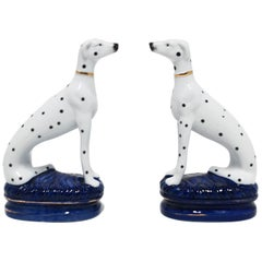 Staffordshire Black and White Greyhound Whippet Dalmatian Dogs Bookends, Pair