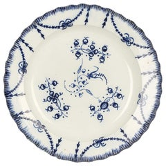 Staffordshire Blue & White Pearlware Floral Decorated Featheredge Plate