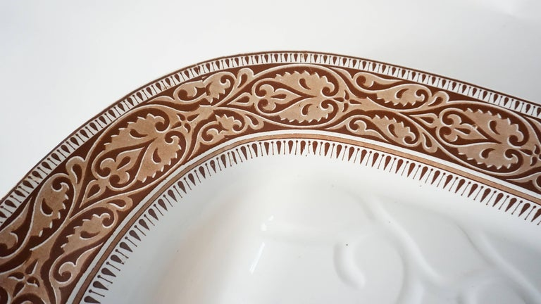 English Staffordshire Brown Transferware Well-and-Tree Platter, England, 1859 For Sale