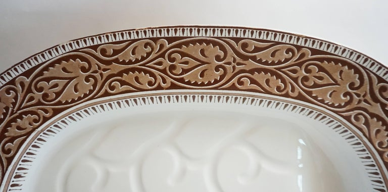 Ceramic Staffordshire Brown Transferware Well-and-Tree Platter, England, 1859 For Sale