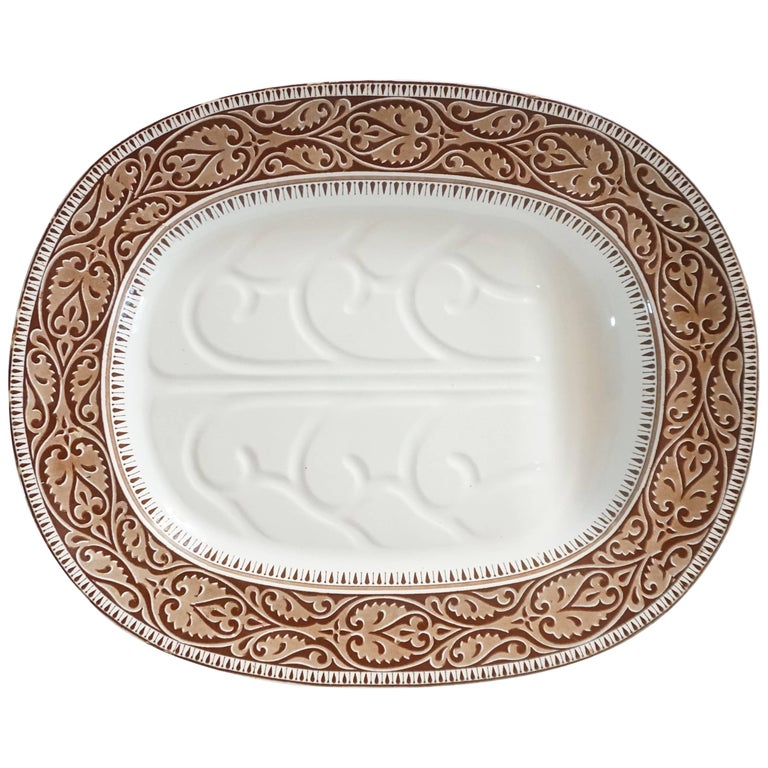 Staffordshire Brown Transferware Well-and-Tree Platter, England, 1859 For Sale
