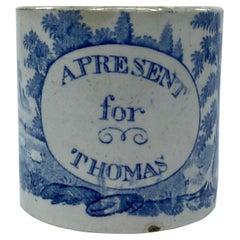 Staffordshire Child's Mug 'Present for Thomas', c. 1830