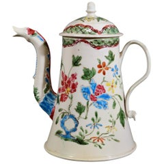 Staffordshire Enameled Salt glaze Stoneware Chinoiserie Coffee Pot & Cover, Cir