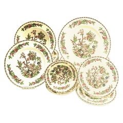 "Staffordshire English Dinnerware ""the India Tree"" by, Alfred Meakin Set of 14"
