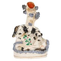 Staffordshire English Pottery Dog Saving Drowning Boy Spill Vase
