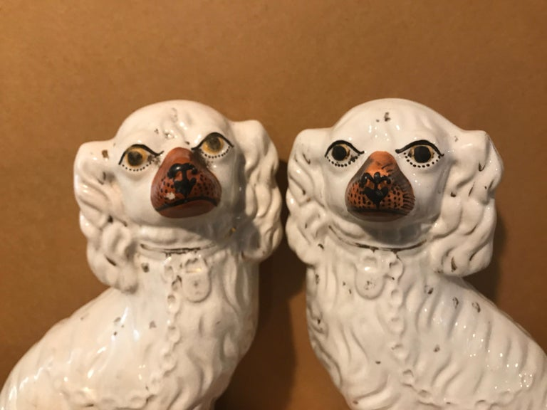 "Staffordshire King Charles Spaniels, circa 1850. England. Measures: 12""H x 9"" L x 4"" D. No cracks or chips or signs of restoration. Signs of age are present, but overall in very good condition."