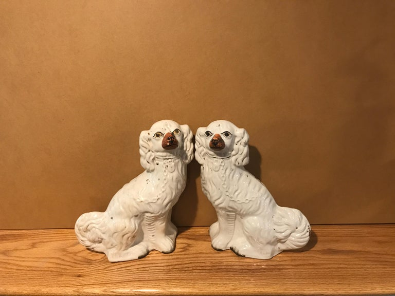 Victorian Staffordshire King Charles Spaniel circa 1850, England 'Pair' For Sale