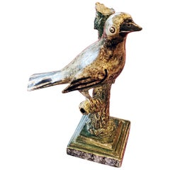 Staffordshire Large Pearlware Whistle Modeled as a Bird on Tree Branch, 1810