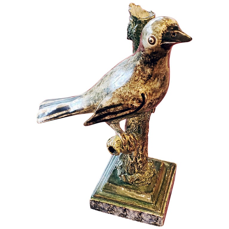 Staffordshire Large Pearlware Whistle Modeled as a Bird on Tree Branch, 1810 For Sale
