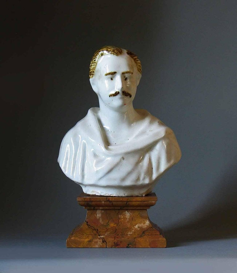 Victorian Staffordshire Pearlware Bust of Prince Albert, circa 1850 For Sale