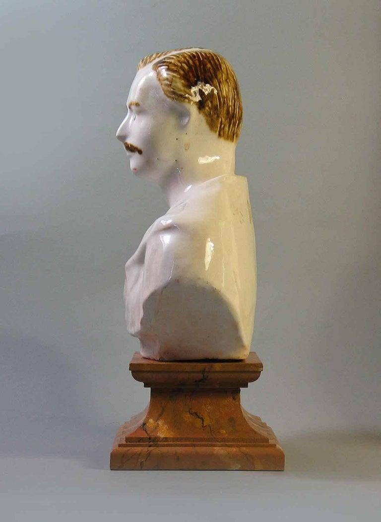 English Staffordshire Pearlware Bust of Prince Albert, circa 1850 For Sale
