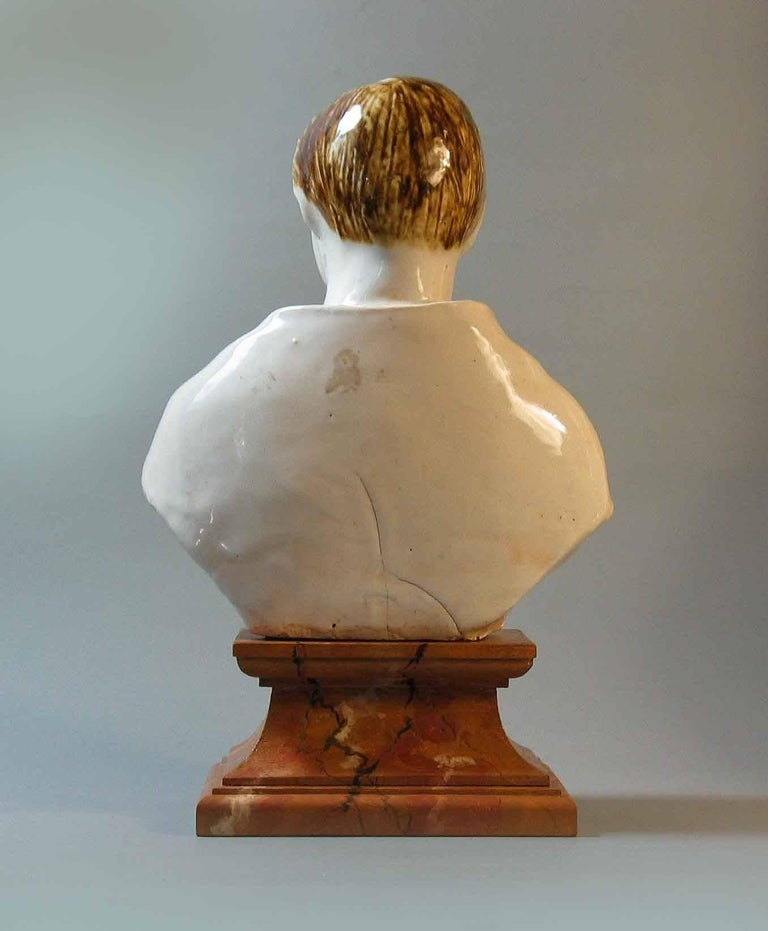 Hand-Crafted Staffordshire Pearlware Bust of Prince Albert, circa 1850 For Sale