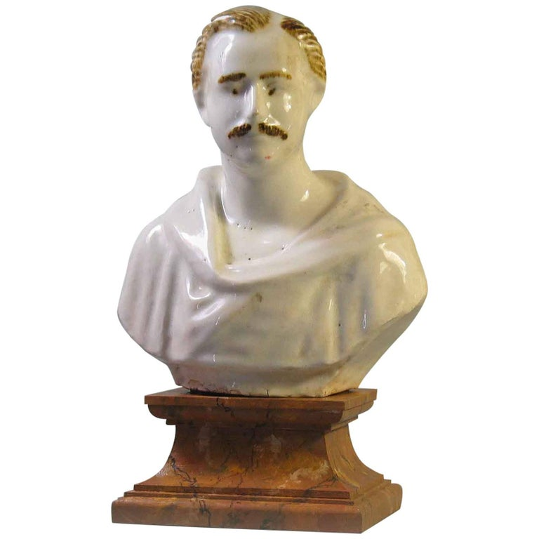 Staffordshire Pearlware Bust of Prince Albert, circa 1850 For Sale