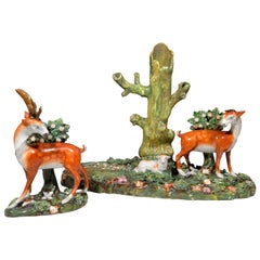 Staffordshire Pearlware Deer and Doe Large Deer Park Spill Vase Group