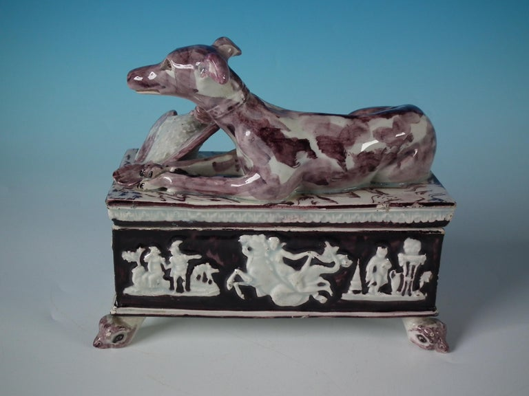 Georgian Staffordshire Pearlware Greyhound Box and Cover For Sale