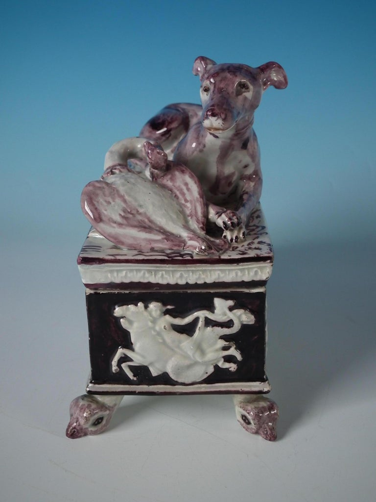English Staffordshire Pearlware Greyhound Box and Cover For Sale