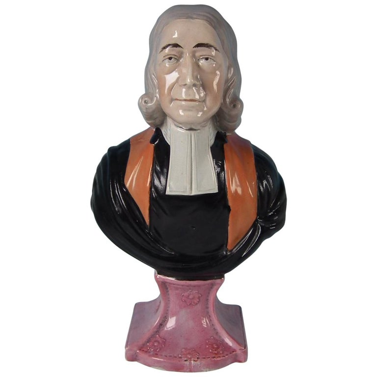 Staffordshire Pearlware 'John Wesley' Bust For Sale