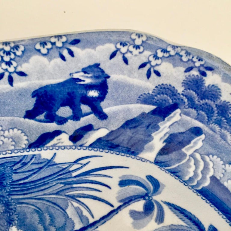 Staffordshire Pearlware Meat Platter, Bear Hunt Pattern Spode Imitation 4