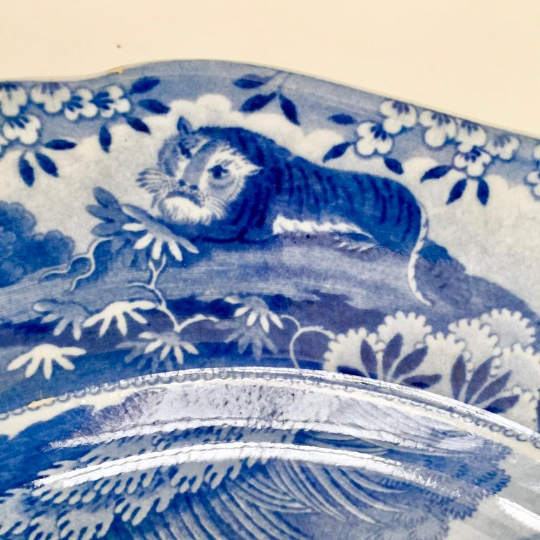 Staffordshire Pearlware Meat Platter, Bear Hunt Pattern Spode Imitation 8