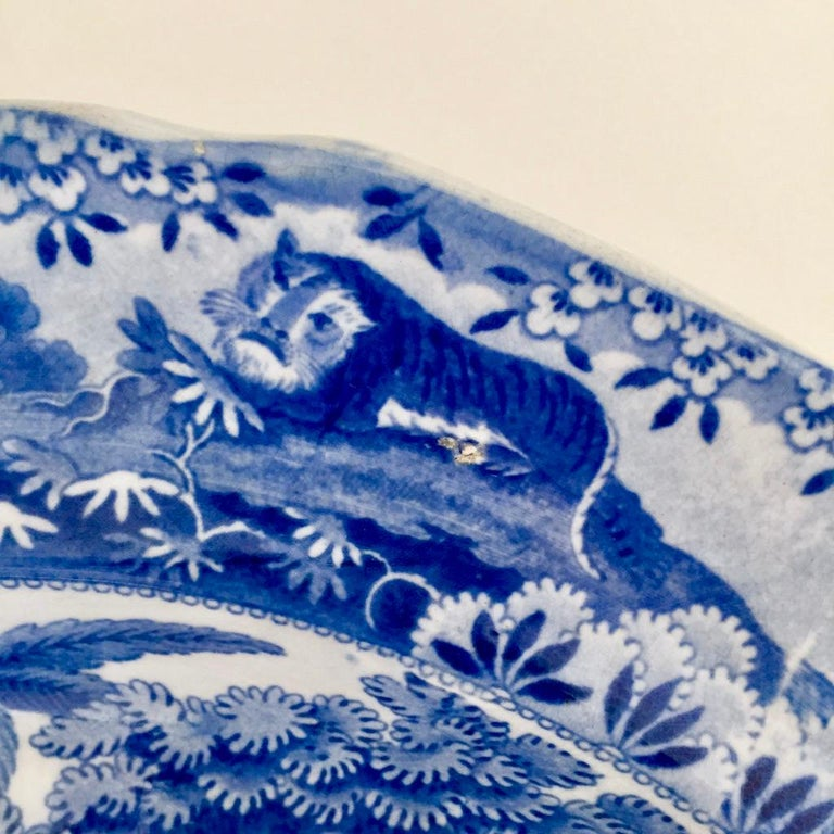 Staffordshire Pearlware Meat Platter, Bear Hunt Pattern Spode Imitation 3