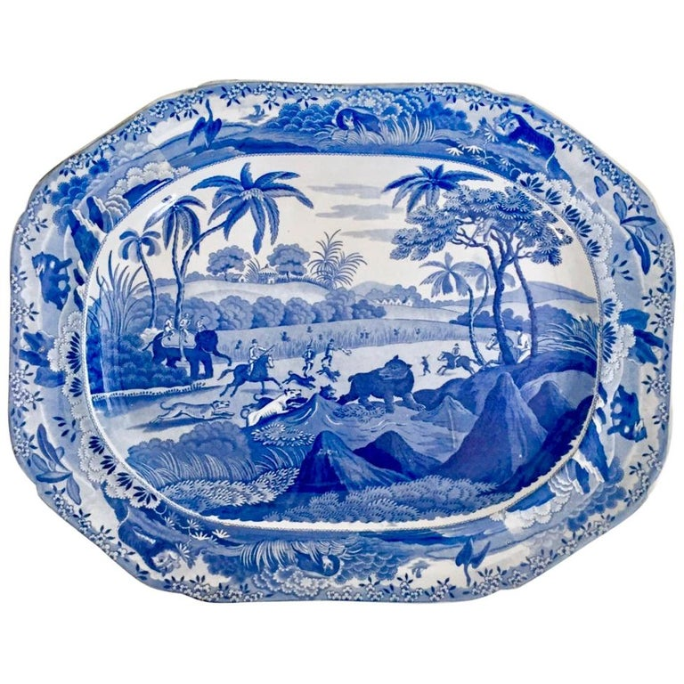 Staffordshire Pearlware Meat Platter, Bear Hunt Pattern Spode Imitation