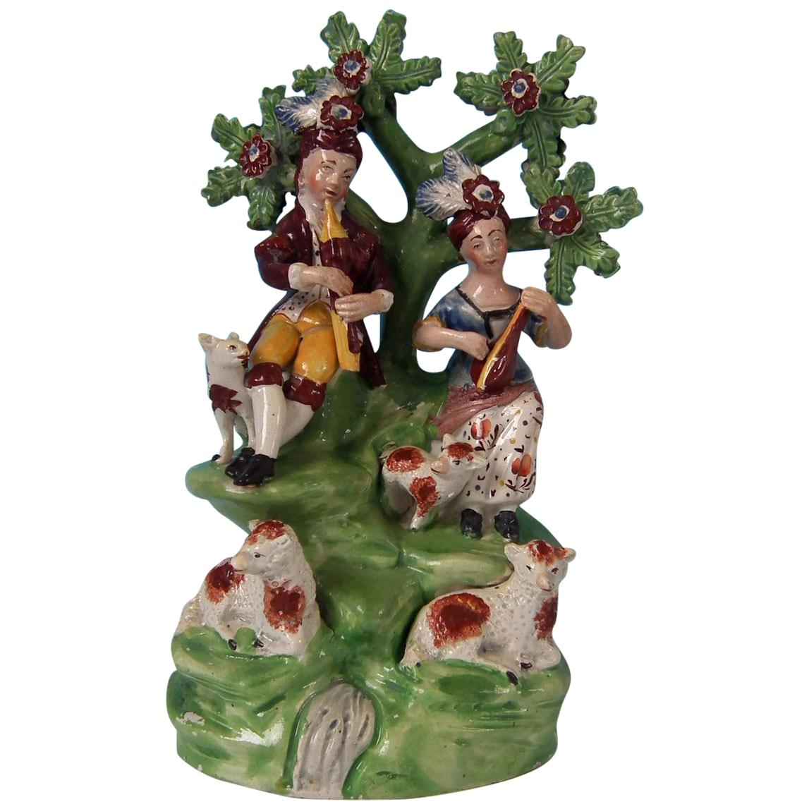 Staffordshire Pearlware Musicians and Sheep Bocage Group