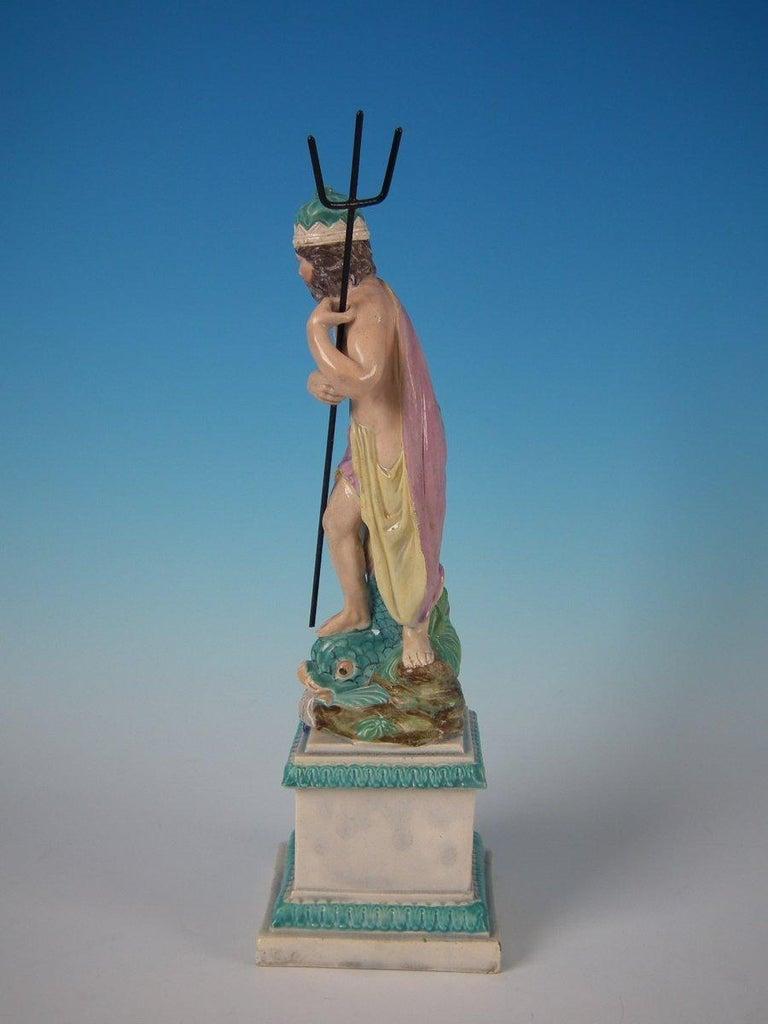 Staffordshire Pearlware Neptune Figure In Good Condition For Sale In Battlesbridge, Essex