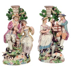 Staffordshire Pearlware Pair of Large Candlestick Figure Groups, 1790-1810