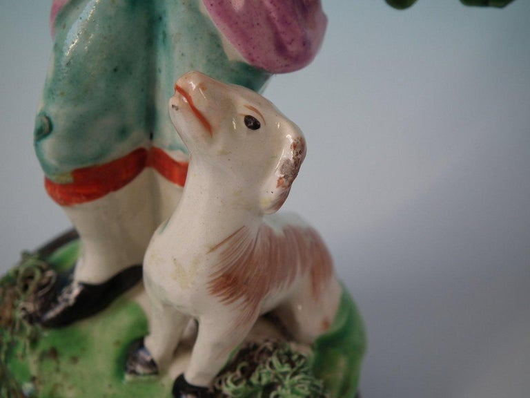 Staffordshire Pearlware Piper with Dog Bocage Figure In Good Condition For Sale In Battlesbridge, Essex
