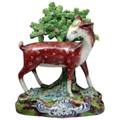 Staffordshire Pearlware Pottery Bocage Figure of a Doe Deer, 19th Century