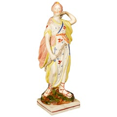 Staffordshire Pearlware Pottery Figure of Diana, Wood Family, Early 19th Century