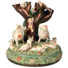 Staffordshire Pearlware Rare Pottery Group of Shepherd and Herd of Sheep, 1825