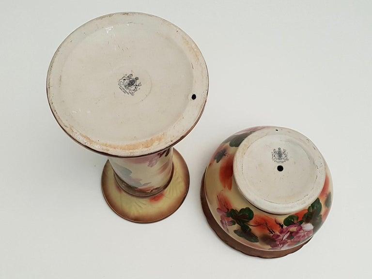 Ceramic Staffordshire Planter Jardinière on a Column For Sale