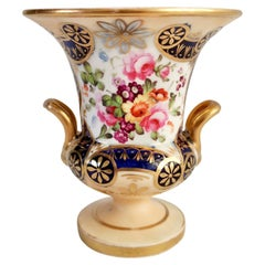 Staffordshire Porcelain Campana Vase, Salmon, Gilt and Flowers, circa 1820