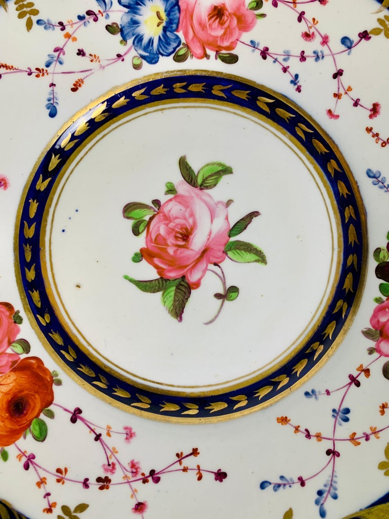 Regency Staffordshire Porcelain Dish Decorated with Roses Made in England, circa 1820 For Sale