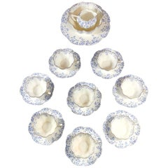Staffordshire Porcelain Service English Coffee-Tea Cups with Plate