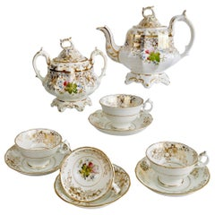 Staffordshire Porcelain Tea Service, White and Gilt, Rococo Revival, circa 1845