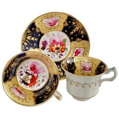 Staffordshire Porcelain Teacup Trio, Cobalt Blue, Gilt, Flowers, Regency