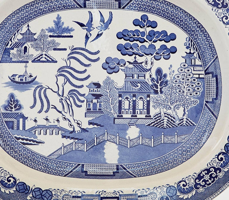 English Staffordshire Pottery Blue White Printed Chinoiserie Dish Circa 1840 1850 For