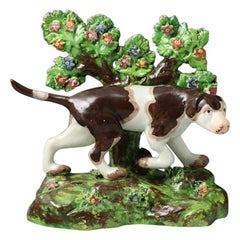 Staffordshire Pottery Bocage Figure of a Pointer Dog on a Base, 19th Century