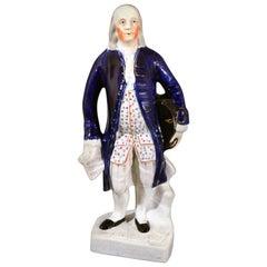 Staffordshire Pottery Figure of Benjamin Franklin, Named Franklin on Base