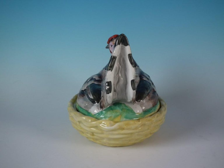 English Staffordshire Pottery Hen on Nest Tureen For Sale