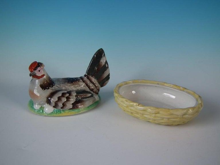 Glazed Staffordshire Pottery Hen on Nest Tureen For Sale