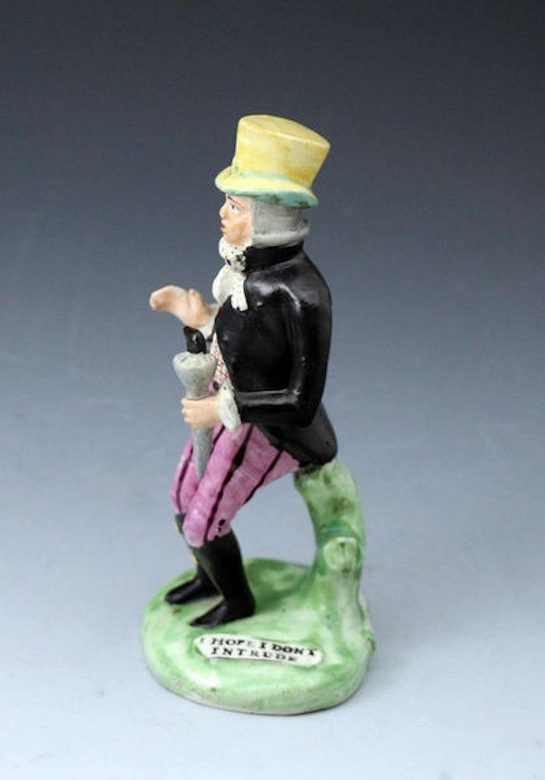 English Staffordshire Pottery Pearlware Figure of Paul Pry, England, 1820 For Sale