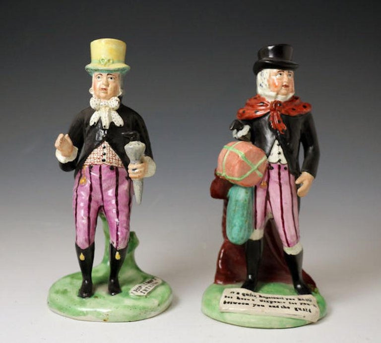 Staffordshire Pottery Pearlware Figure of Paul Pry, England, 1820 In Good Condition For Sale In Woodstock, OXFORDSHIRE