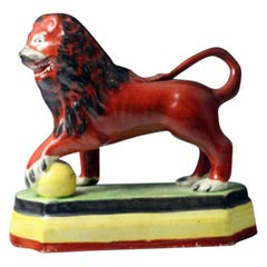 Staffordshire Pottery Pearlware Figure of a Standing Lion on Base