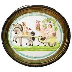 Staffordshire pottery pearlware plaque with luster decoration and Bacchus scene