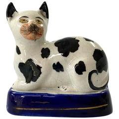 Staffordshire Pottery Recumbent Cat, c. 1850